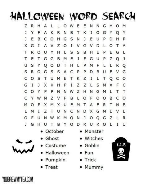 free printable halloween word search halloween fall