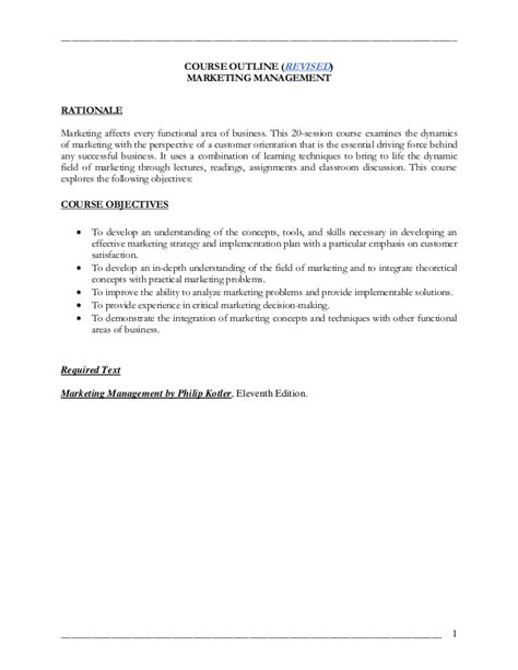 marketing management course marketing management course outline 2003 2004 revised