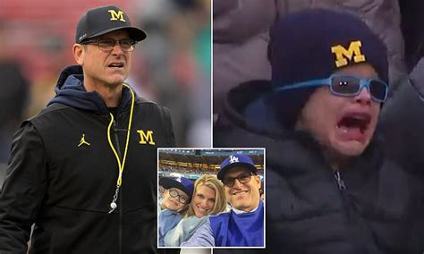 jim harbaughs son cries  michigan game daily mail