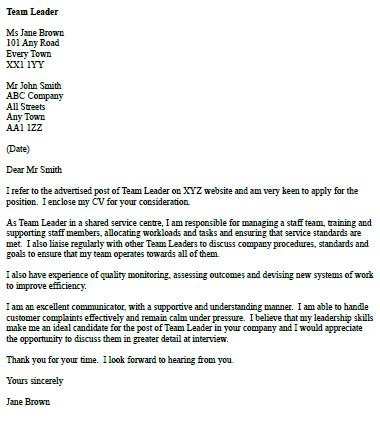 cover letter   team leader icoverorguk