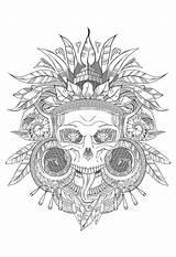 Coloring Skull Aztec Adults Incas Shades Mayans Adult Aztecs Mayan Grey Temple Totem Quetzalcoatl Incredible Gray sketch template