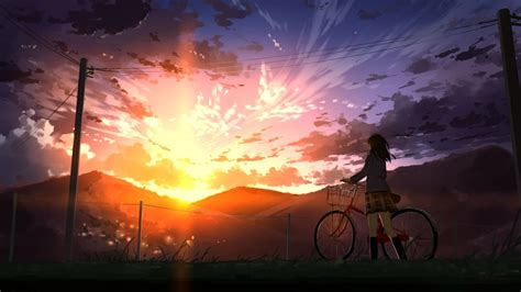 Anime Sunset Wallpaper - 1920x1080 anime bicycle sunset scenic