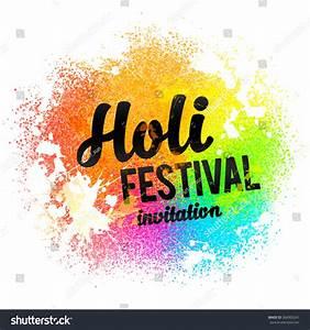 Holi Festival Invitation Vector Black Sign Stock Vector ...