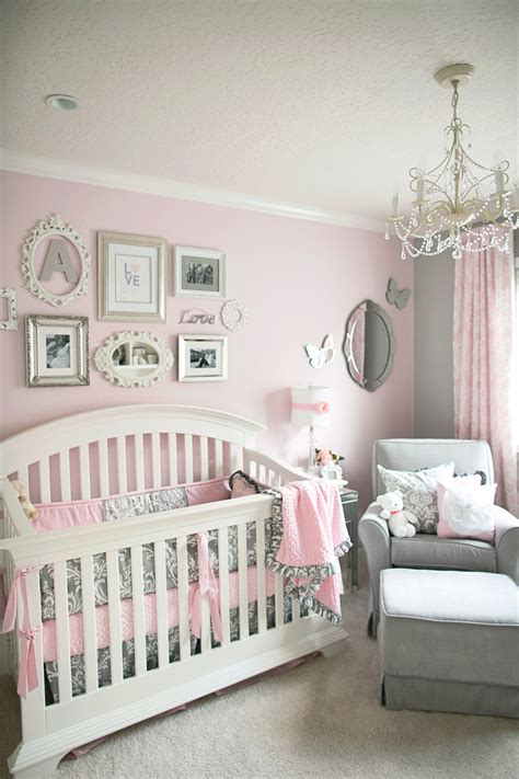 soft and gray and pink nursery
