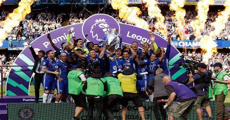 Chelsea lift Premier League trophy after winning title ...