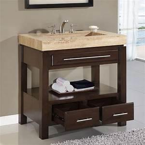 36 Perfecta PA 5522 Bathroom Vanity Single Sink Cabinet Dark Walnut Finish Bathroom