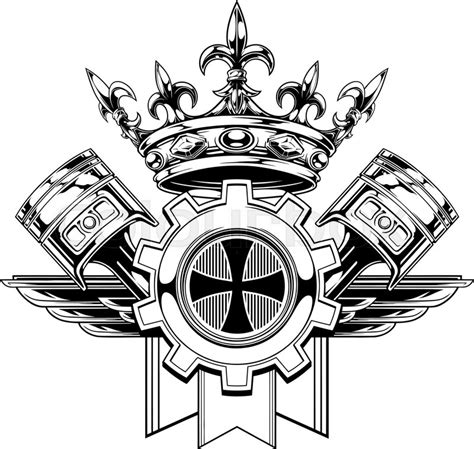 black and white graphic coat of arms with crossed pistons royal crown gear and wings