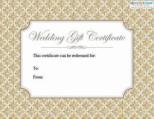 printable wedding gift certificates lovetoknow With images of wedding gift cards