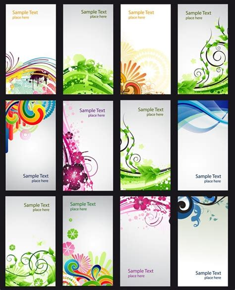 set  vector abstract business cards  floral