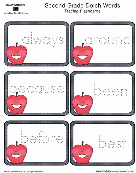 Free Printables Second Grade Dolch Sight Words Tracing Apples Cards  Teaching Free Printables