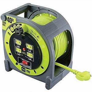 40ft Electric Extension Cord Cable Case Reel Retractable