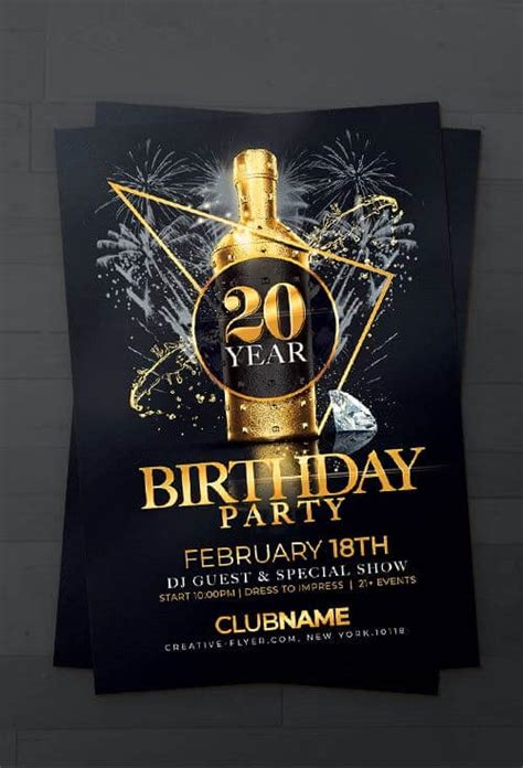 elegant birthday flyer template psd creativeflyers