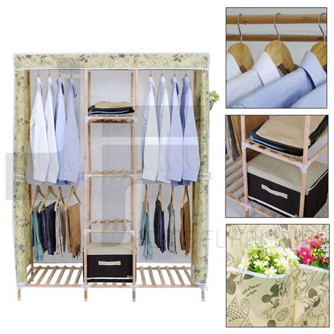 Wooden Wardrobes For Hanging Clothes by Wooden Canvas Clothes Bedroom Storage Wardrobes