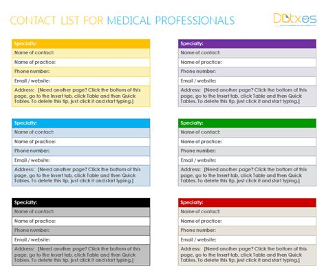 medical contact list template  word dotxes