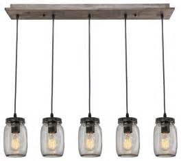 5 light glass jar island pendant industrial