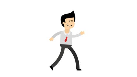 Character Animation Sequence. Funny Walking Cartoon Male