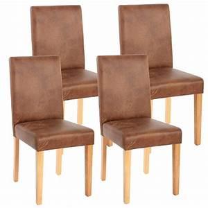 Lot de 4 chaises de salle a manger simili cuir marron for Deco cuisine avec chaises cuir marron salle manger