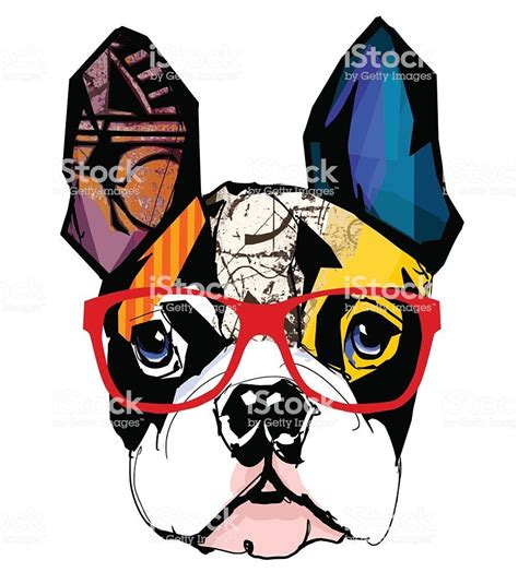 portrait  french bulldog wearing sunglasses vector