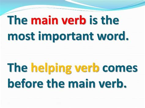 Main Verbs And Helping Verbs Powerpoint Presentation