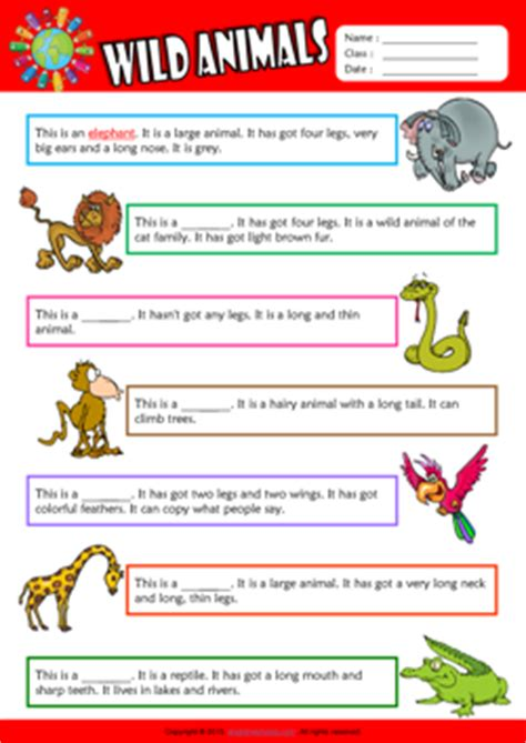 wild animals esl printable worksheets  kids
