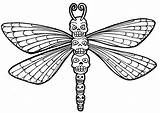Dragonfly Coloring Pages Printable Skull Sugar Adults Drawing Dragon Fly Totem Clipart Colouring Wings Animal Outline Adult Preschool Mandala Wenchkin sketch template