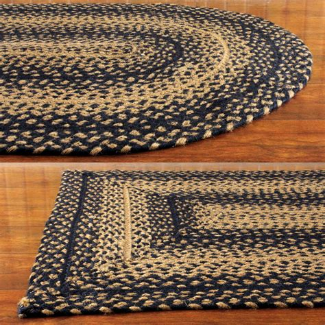 Black Area Rugs by Black And Rectangle Braided Area Rug Ebay