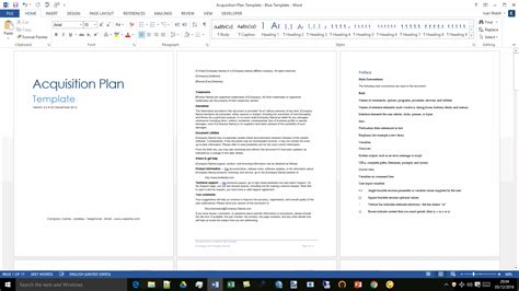 acquisition plan template ms word excel
