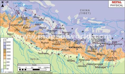 Nepal Physical Map | Physical Map of Nepal