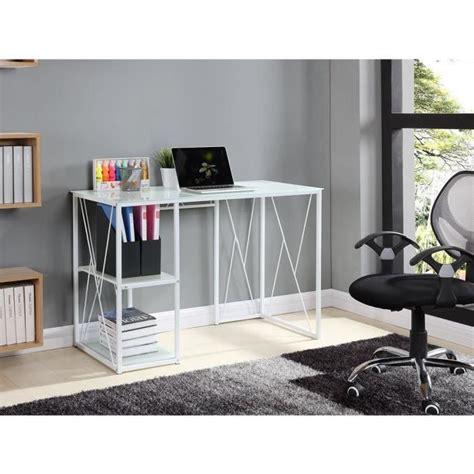 bureau 110 cm trigo bureau en verre trempé 110x55x75 cm blanc achat