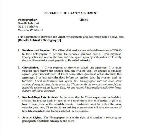 Photography Contract Template 20 Photography Contract Template
