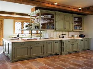 Green, Distressed, Kitchen, Cabinets