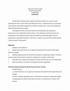 Avalanche Grade Eight Science Lesson Plan John Muir Study Guide