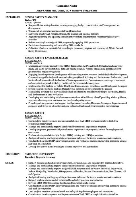 Safety Manager Resume by Senior Safety Resume Sles Velvet