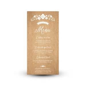 menu pour mariage menu personnalisé pour mariage chêtre et fleuri