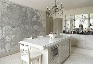 le papier peint de cuisine vous recouvre d39une fraicheur With tapisserie de cuisine moderne
