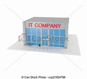 It Company Office Building Isolated On... Graphic ...