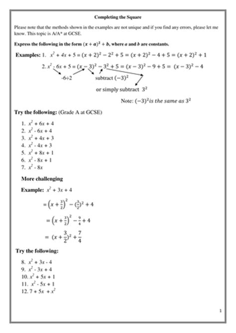 completing the square gcse a a grade also 4 c1 by