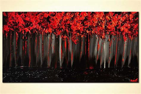 Abstract Painting On Black Background by Painting Forest On Black Background Blooming Trees