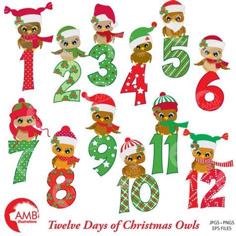 Christmas Clipart Christmas Owls With Numbers Clipart 12