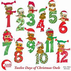 Christmas Clipart Christmas Owls With Numbers Clipart 12 Etsy