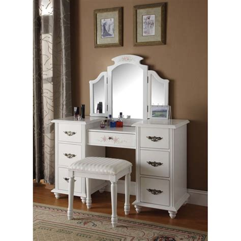 white dresser set acme furniture torian white finish vanity set 13841