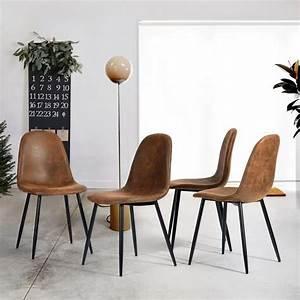 lot de 4 chaises de salle a manger chaises de cuisine With salle À manger contemporaineavec chaises cuir marron salle manger