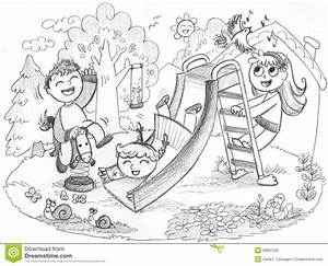 Children Play Park Clipart Black And White - ClipartXtras