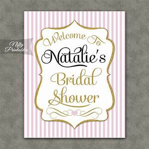 pink gold bridal shower welcome sign nifty printables With wedding shower signs