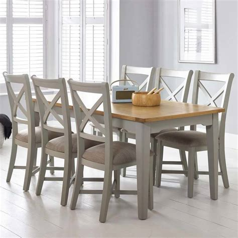 bordeaux painted light grey large extending dining table  chairs seats   costco uk