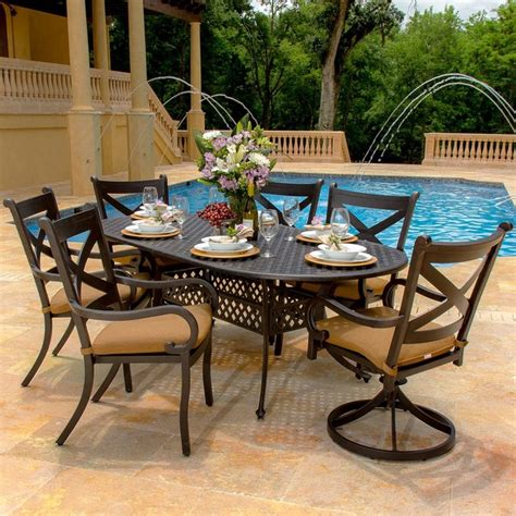avondale 6 person cast aluminum patio dining set modern