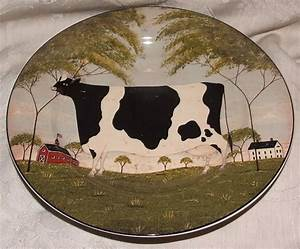 4 Animal Warren Kimble Primitive Country Folk Art Dessert Salad Plates Stoneware