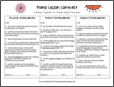 the teaching studio free printable piano lesson contract