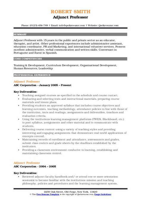 Professor Resume by Adjunct Professor Resume Sles Qwikresume