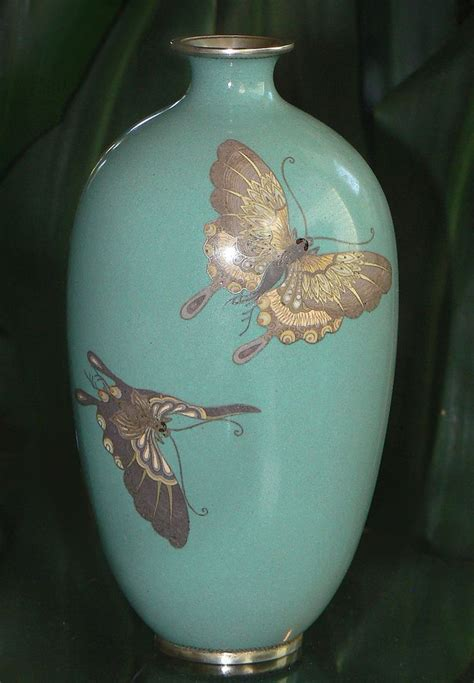 Vase S by Japanese Cloisonne Enamel Vase With Butterflies From